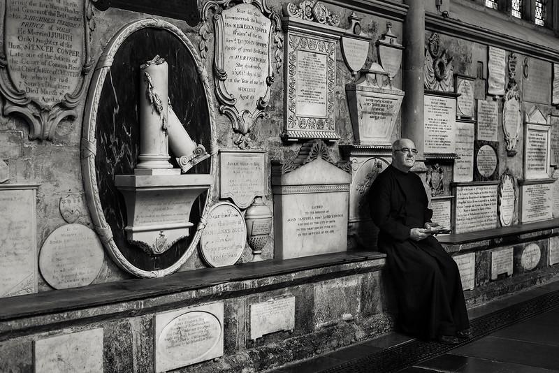 Priest in the Bath Abbey.  Bath, England,, 2018