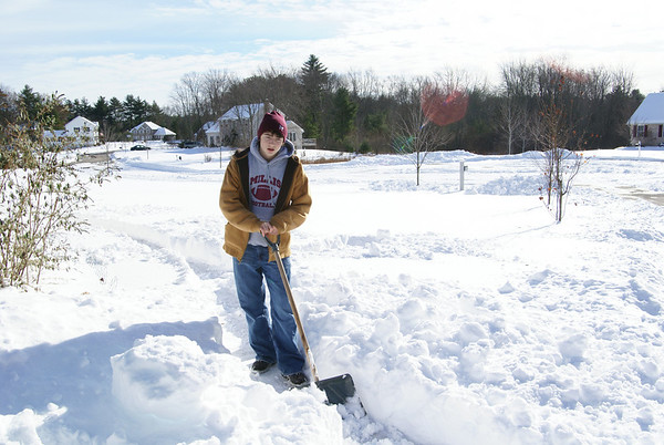Josh carves snow into...