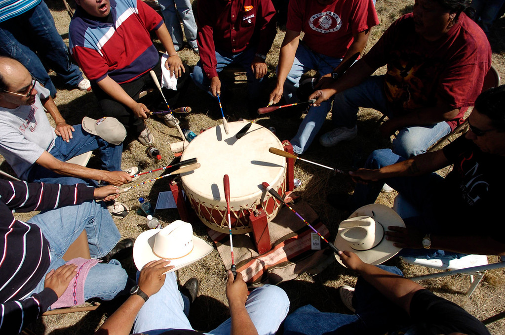 . Southern Cheyenne and Arapaho Drum Group started off the dedication of the Sand Creek Massacre National Historic Site on Saturday, April 28, 2007, 15-miles west of Eads, Colorado. Over a thousand people attended the dedication.  RJ Sangosti/ The Denver Post