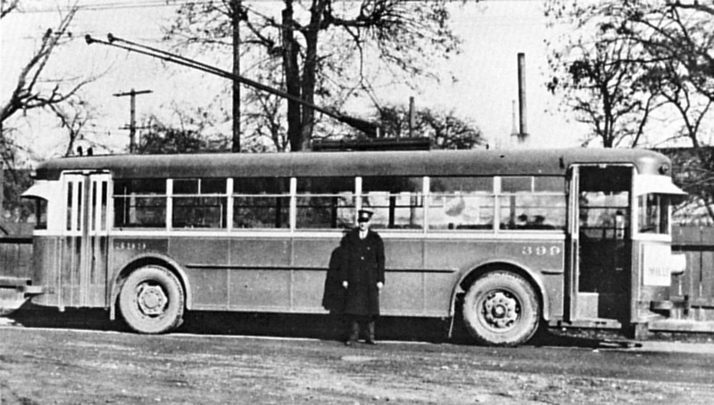 The Fageols sent demonstrator 399 to Salt Lake City in an attempt to gain an electric coach order from UL&T. They succeeded, but not until they had moved the rear door ahead of the rear axle and added dynamic braking. Compare with the photo of 402. (Utah Power & Light Co.; mca_39-3_3a)
