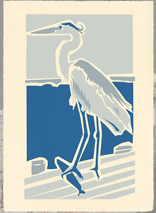 """Great Blue"" (silkscreen print) by Gene Barbera"