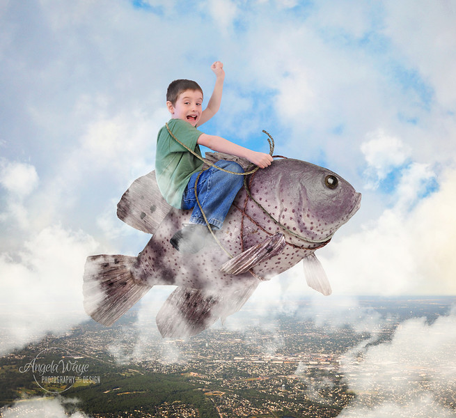 Child Riding Pet Fish in Sky