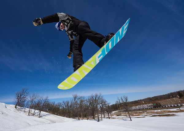DAVID LIPNOWSKI / WINNIPEG FREE PRESS  Josey Chrisp enjoys the last day of downhill skiing and snowboarding at Stony Mountain Ski Area Sunday April 15, 2018.