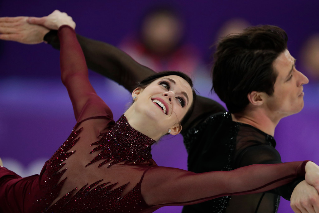 . Tessa Virtue and Scott Moir of Canada perform during the ice dance, free dance figure skating final in the Gangneung Ice Arena at the 2018 Winter Olympics in Gangneung, South Korea, Tuesday, Feb. 20, 2018. (AP Photo/Julie Jacobson)