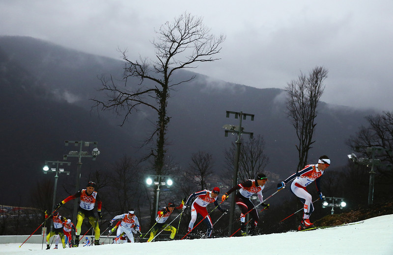. Joergen Graabak of Norway leads the pack in the Nordic Combined Men\'s 10km Cross Country during day 11 of the Sochi 2014 Winter Olympics at RusSki Gorki Nordic Combined Skiing Stadium on February 18, 2014 in Sochi, Russia.  (Photo by Al Bello/Getty Images)