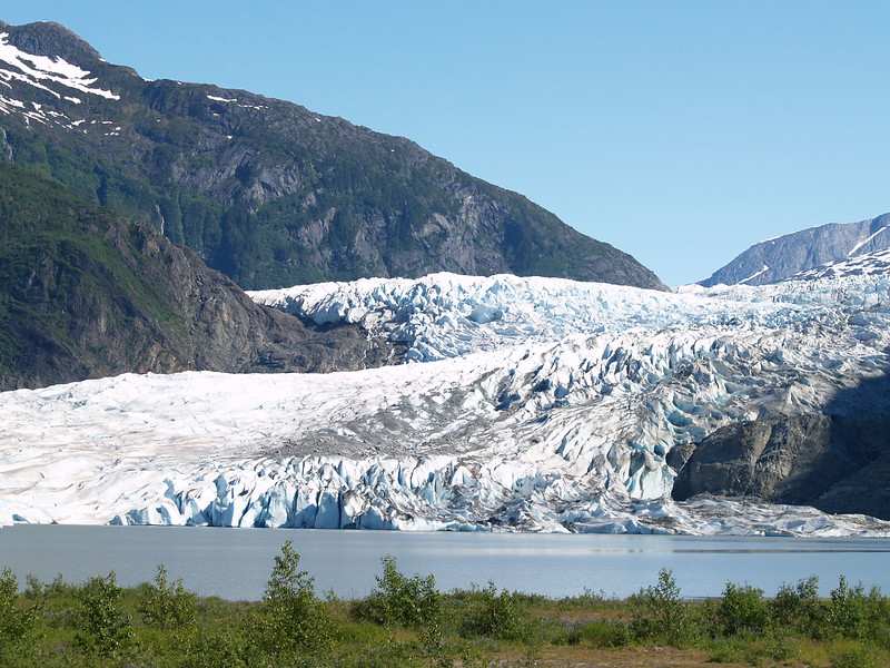 Mendenhall Glacier - July, 2006. One of the folks stated that it had rained for two weeks striaght before we showed up. We had bright, sunny skies for our entire visit in Juneau. The following year, we got out to Mendenhall for a couple of hours in the morning before a steady rain set in for the rest of the day. It happens - bring a raincoat!