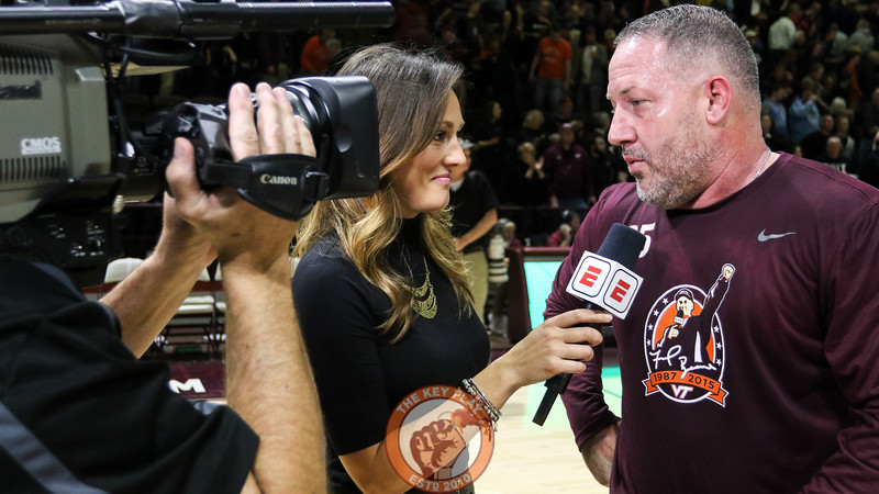 Head coach Buzz Williams speaks with ESPN's Allison Williams after the game. (Mark Umansky/TheKeyPlay.com)