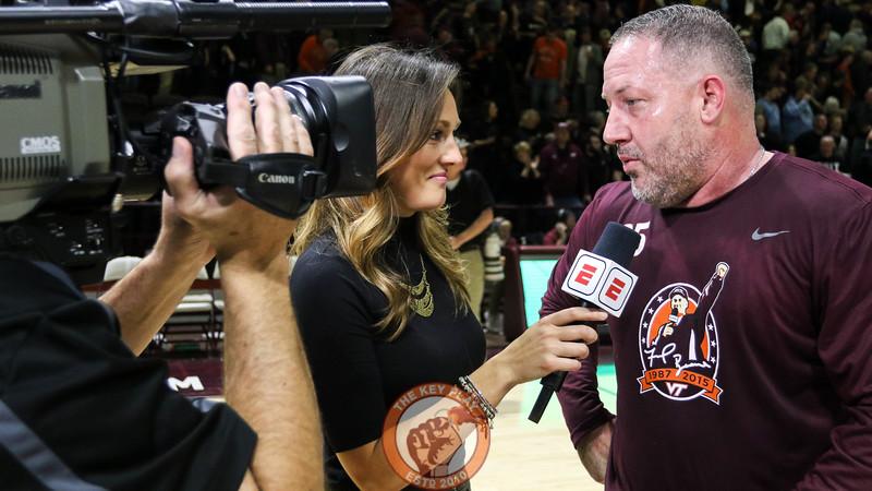 Head coach Buzz Williams speaks with ESPN's Allison Williams after the game. (Mark Umansky/TheKeyPlay.com)
