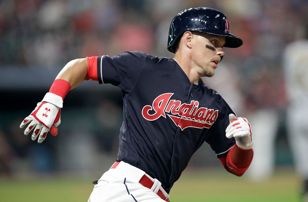 . Cleveland Indians\' Brandon Guyer runs the bases after hitting a solo home run in the eighth inning of a baseball game against the Pittsburgh Pirates, Tuesday, July 24, 2018, in Cleveland. (AP Photo/Tony Dejak)