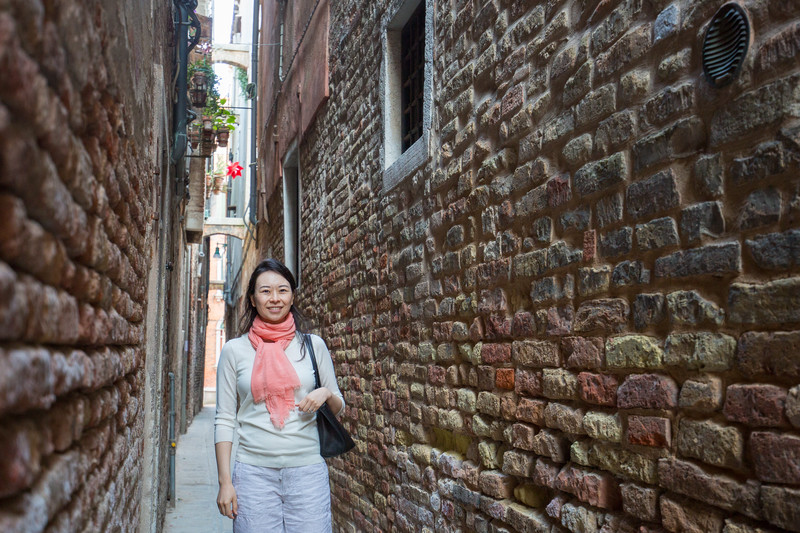 Lots of narrow streets in Venice.