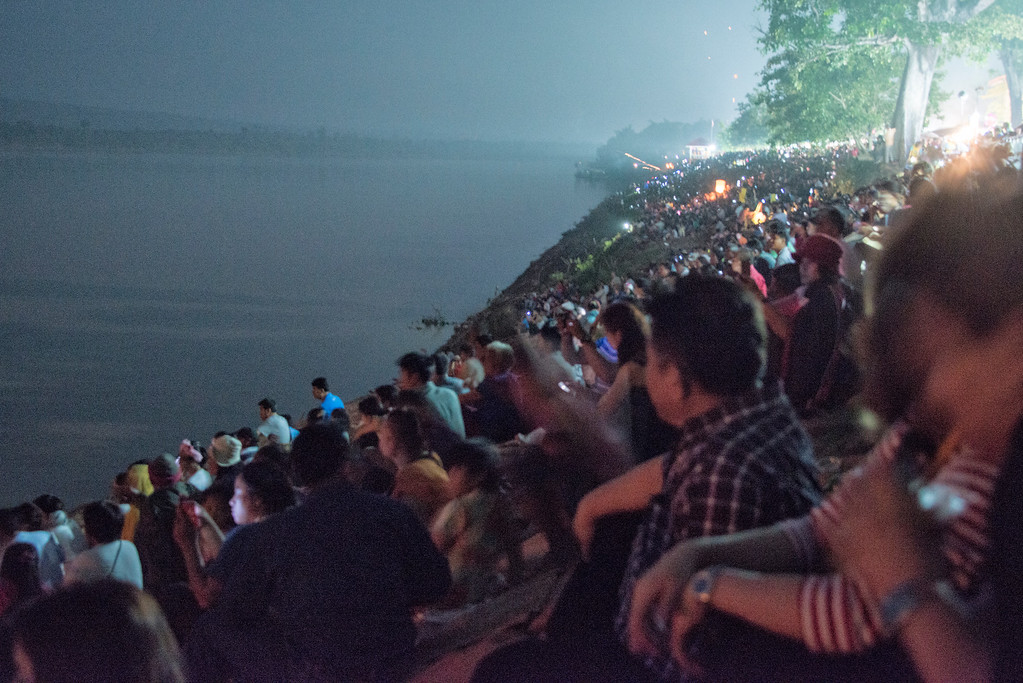 Crowds at the Naga Fireball Festival, Nong Khai, Thailand