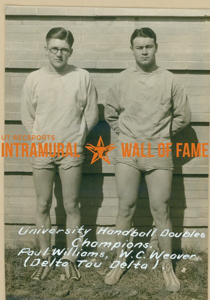 HANDBALL University Doubles Champions  Delta Tau Delta  Paul Williams & W. C. Weaver