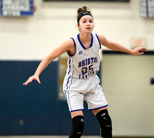 2/9/2019 Mike Orazzi | Staff Bristol Eastern's Sage Scarritt (25) during Saturday's girls basketball game with Rocky Hill in Bristol.
