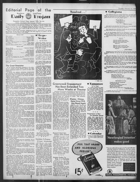 Daily Trojan, Vol. 27, No. 77, February 13, 1936