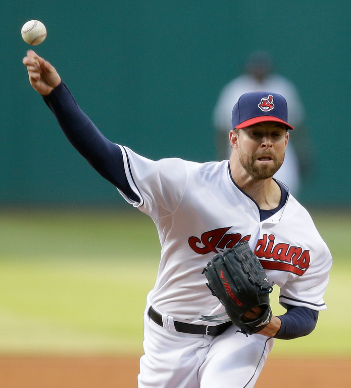 . Cleveland Indians starting pitcher Corey Kluber delivers in the first inning of a baseball game against the Detroit Tigers, Monday, May 19, 2014, in Cleveland. (AP Photo/Tony Dejak)