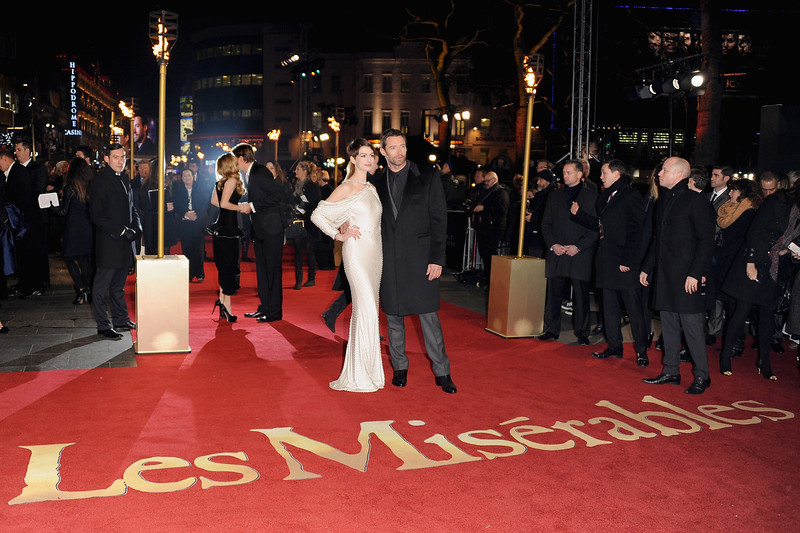 ". Actors Anne Hathaway and Hugh Jackman attend the ""Les Miserables\"" World Premiere at the Odeon Leicester Square on December 5, 2012 in London, England.  (Photo by Stuart Wilson/Getty Images)"