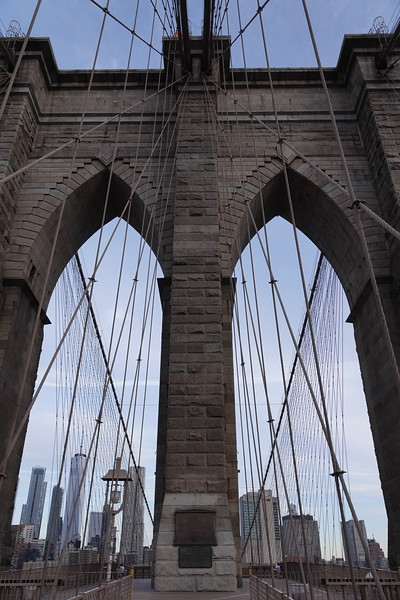 Eastern tower on Brooklyn Bridge.