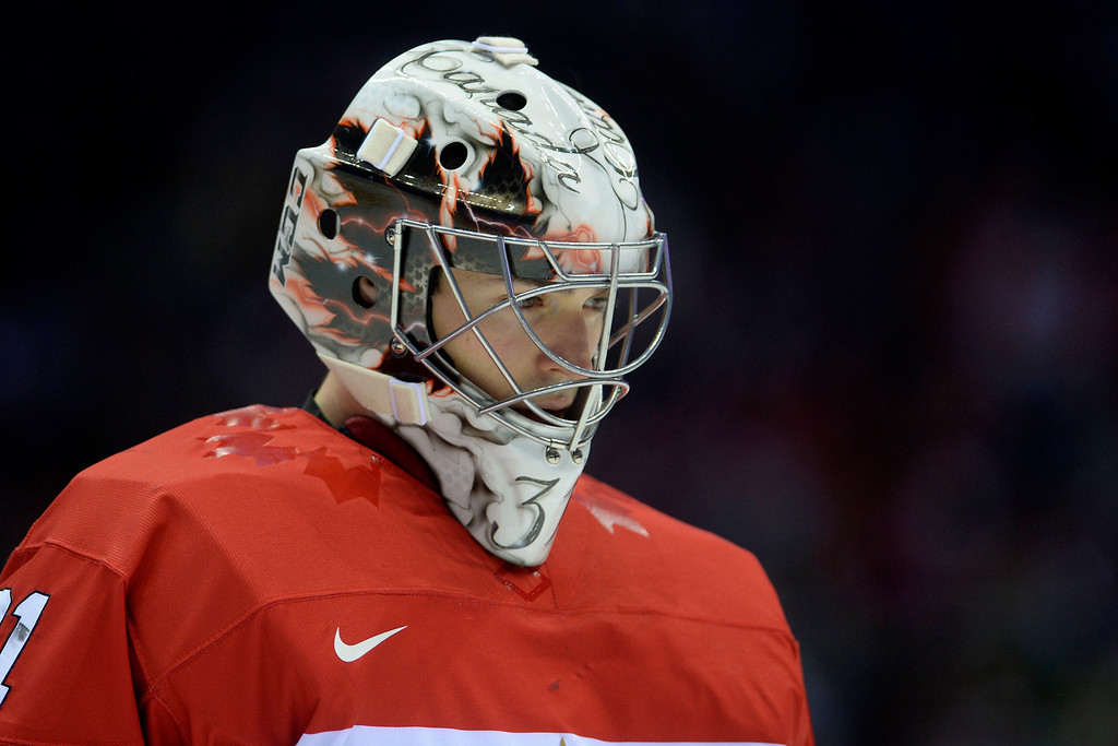 . Carey Price (31) of Canada teaks a breather against Sweden during the second period of the men\'s ice hockey gold medal game. Sochi 2014 Winter Olympics on Sunday, February 23, 2014 at Bolshoy Ice Arena. (Photo by AAron Ontiveroz/ The Denver Post)