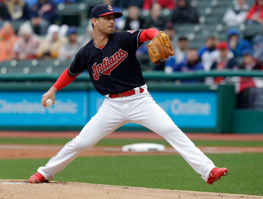 . Cleveland Indians starting pitcher Josh Tomlin delivers in the first inning of a baseball game against the Chicago Cubs, Tuesday, April 24, 2018, in Cleveland. (AP Photo/Tony Dejak)