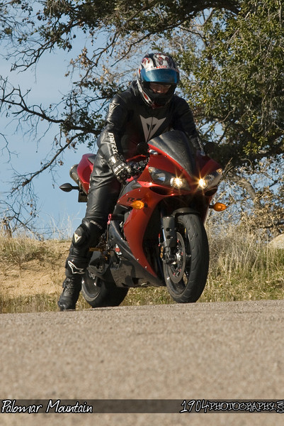 A yamaha R1 sits at a turnout on south grade road after riding up and down palomar mountain.