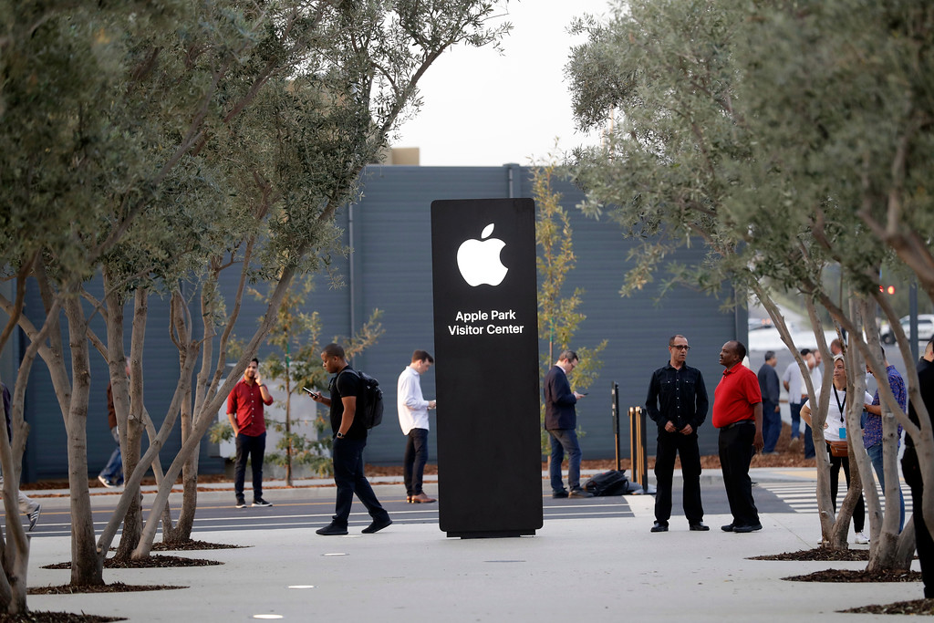 . An exterior view of Apple\'s new visitor center during an announcement of new products Sept. 12, 2017, in Cupertino, Calif. (AP Photo/Marcio Jose Sanchez)
