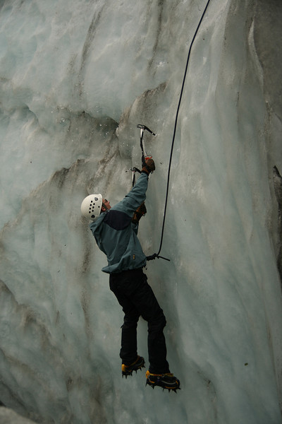 James Ice climbing in a cravasse on Fox Glacier