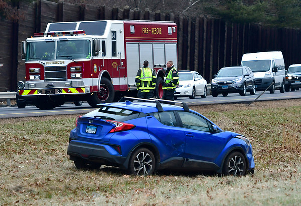 12/14/2018 Mike Orazzi | Staff The scene of a two-vehicle crash on Route 691 West near Exit 4 in Southington Friday afternoon. One was transported and two refused treatment.