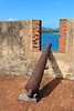 An old cannon propped against a portal at El Fuerte de San Felipe which was built in 1540.  Puerto Plata, Dominican Republic. © 2006 Kenneth R. Sheide