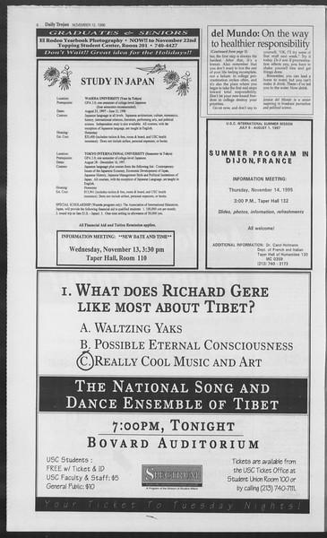 Daily Trojan, Vol. 129, No. 52, November 12, 1996