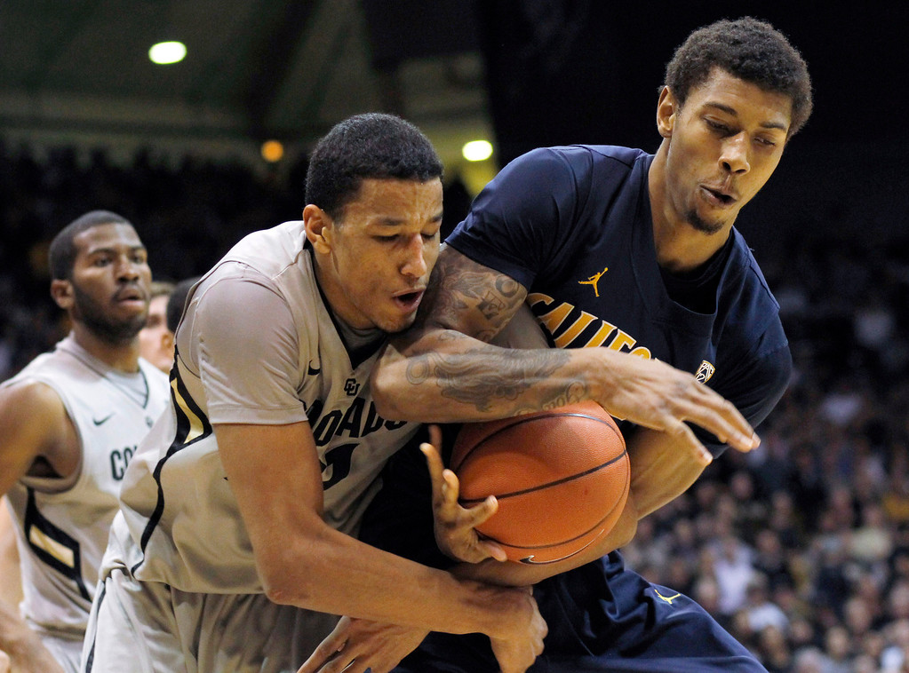 . Colorado guard Andre Roberson, left,battles for control of a rebound with California forward Richard Solomon in the second half of Colorado\'s 81-71 victory in an NCAA basketball game in Boulder, Colo., on Sunday, Jan. 27, 2013. (AP Photo/David Zalubowski)