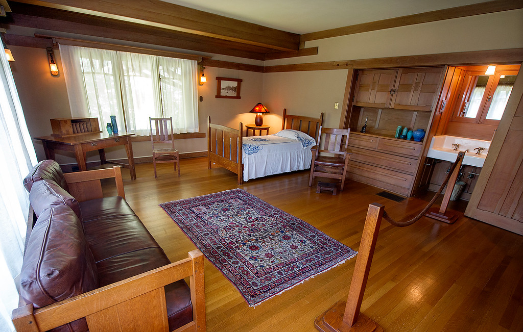 . Guest bedroom at the Gamble House Tuesday, July 16, 2013. Fans of the BBC�s �Upstairs/Downstairs� and �Downton Abbey� can get a rare, behind-the-scenes look at the real deal when the Gamble House, located at  4 Westmoreland Place in Pasadena. The Gamble House opens up its servants quarters for three weeks only, beginning Aug. 1. The tour is based on new findings about the Gamble family and its servants. Part of the first floor will be closed on the tour due to renovations.(SGVN/Photo by Walt Mancini)