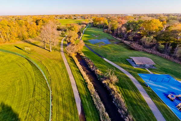 Kearsley Park in Flint Michigan Aerial Photography