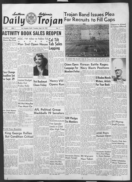 Daily Trojan, Vol. 43, No. 7, September 25, 1951