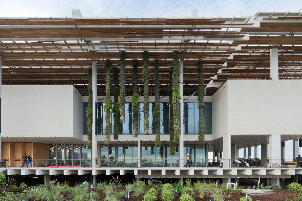 . The new Perez Art Museum, on Biscayne Bay in Miami, is set on stilts to avoid flood dangers.