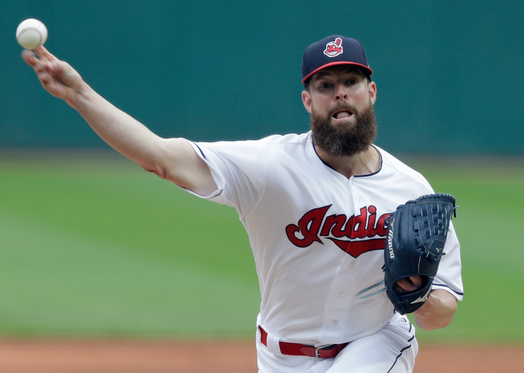 . Cleveland Indians starting pitcher Corey Kluber delivers in the first inning of a baseball game against the Chicago White Sox, Wednesday, June 20, 2018, in Cleveland. (AP Photo/Tony Dejak)