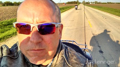The first ride with Jay, on his new Street Glide. 135 miles after work.