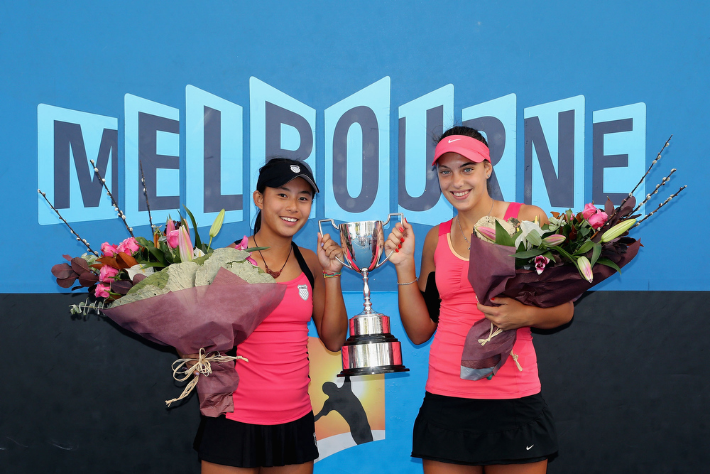 Description of . Carol Zhao of Canada and Ana Konjuh of Croatia pose with the championship trophy after winning their Junior Girls' Doubles final match against Oleksandra Korashvili of the Ukraine and Barbora Krejcikova of the Czech Republic during day twelve of the 2013 Australian Open at Melbourne Park on January 25, 2013 in Melbourne, Australia.  (Photo by Scott Barbour/Getty Images)