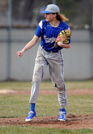 4/5/2018 Mike Orazzi   Staff Bristol Eastern High School's Jagger Duquette (16) Thursday afternoon in Plainville.