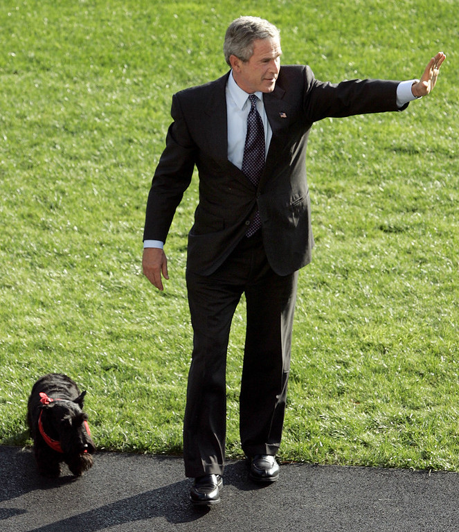 . President Bush and his dog Barney arrive at the White House on Tuesday, Nov. 2, 2004 in Washington.  (AP Photo/Evan Vucci)