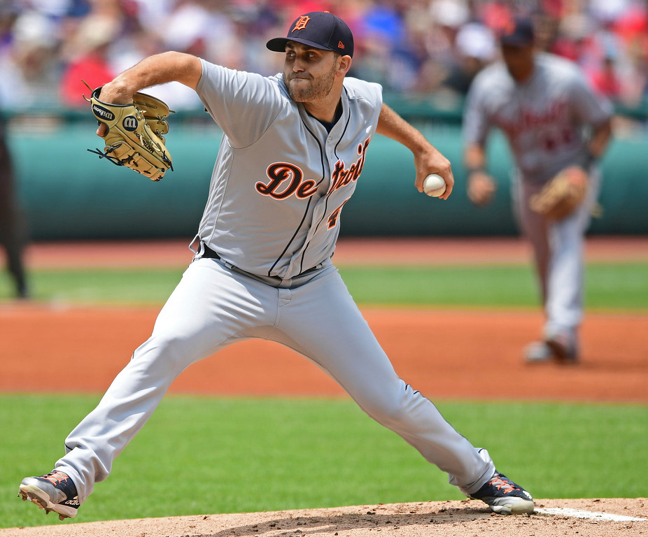 . Detroit Tigers starting pitcher Matthew Boyd delivers in the first inning of a baseball game against the Cleveland Indians, Sunday, June 24, 2018, in Cleveland. (AP Photo/David Dermer)