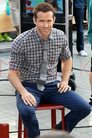 "NEW YORK, NY - JULY 09:   Ryan Reynolds visits NBC's ""Today"" at Rockefeller Plaza on July 9, 2013 in New York City."