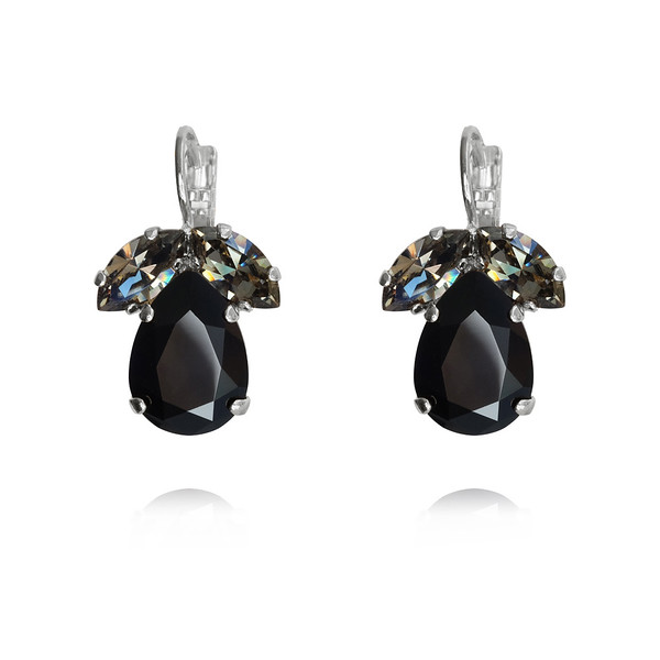 Timo Earrings / Jet + Black Diamond / Rhodium