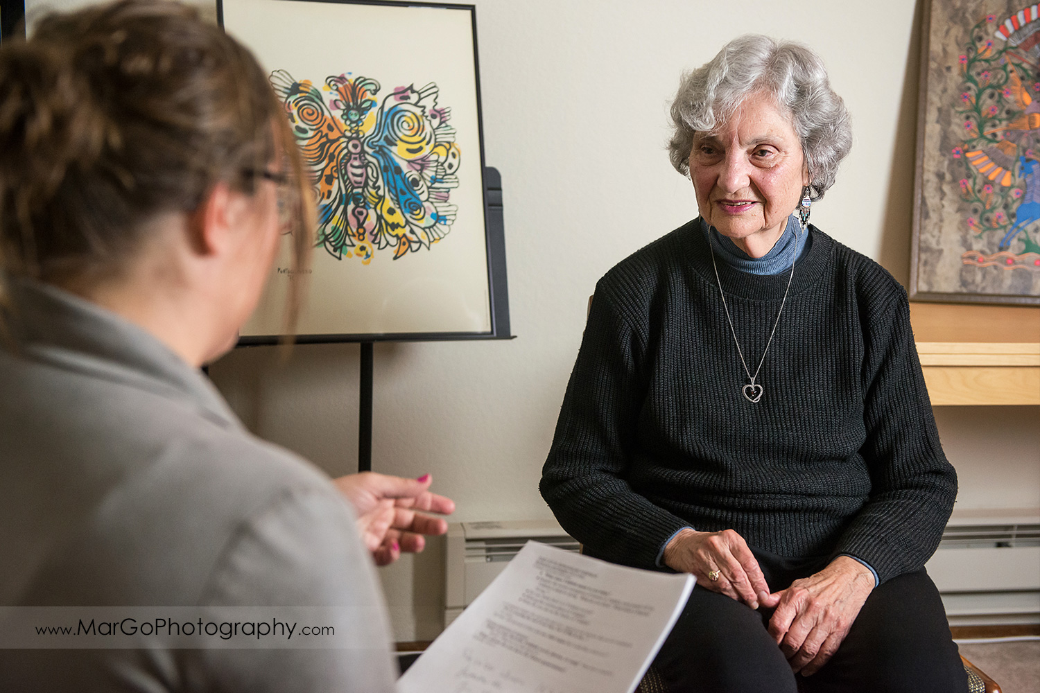 old Jewish woman interviewd by another woman