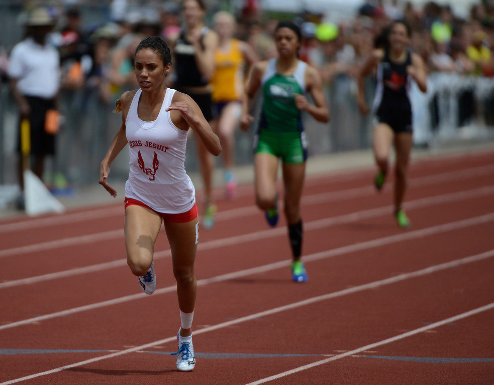 . LAKEWOOD, CO - MAY 18:  Ana Holland, Regis Jesuit, heads for the finish line to win the girls 5A 400 meter race  at the Colorado State Track and Field Championships at Jeffco Stadium, Saturday morning, May 18, 2013. Holland won with a time of 52.49, a new prep and meet record. (Photo By Andy Cross/The Denver Post)