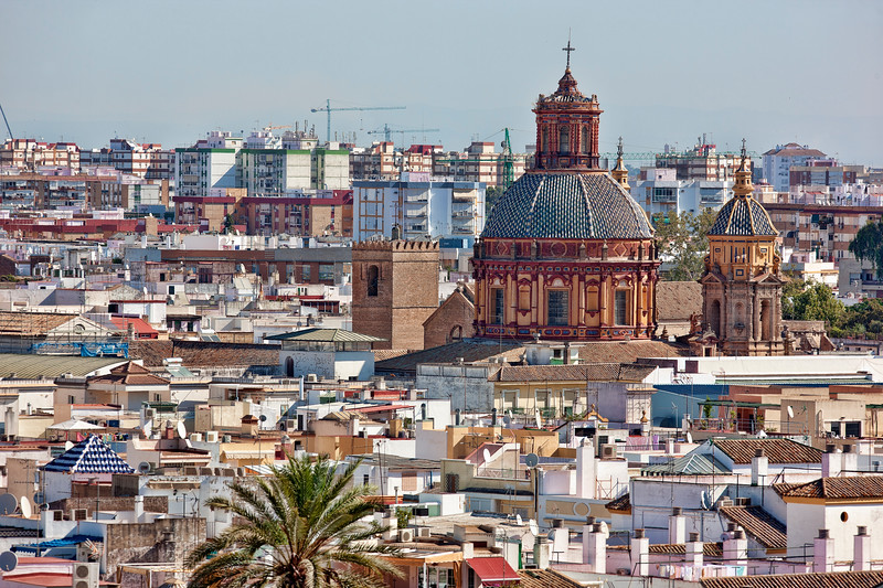 The dome of San Luis church as seen from the top of Metropol Parasol, Seville, Spain