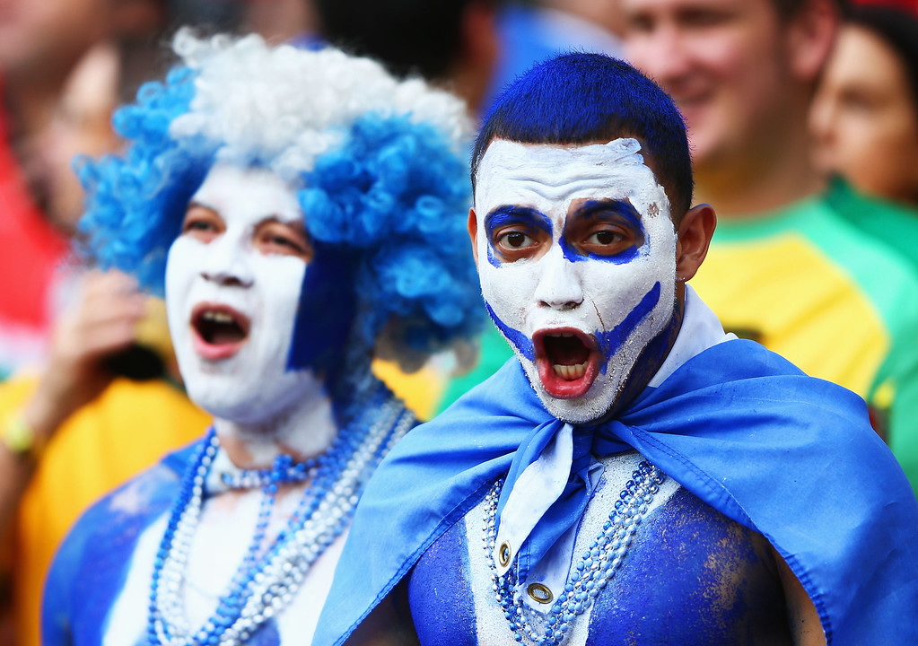 . PORTO ALEGRE, BRAZIL - JUNE 15: Honduras fans enjoy the the atmosphere prior to the 2014 FIFA World Cup Brazil Group E match between France and Honduras at Estadio Beira-Rio on June 15, 2014 in Porto Alegre, Brazil.  (Photo by Ian Walton/Getty Images)