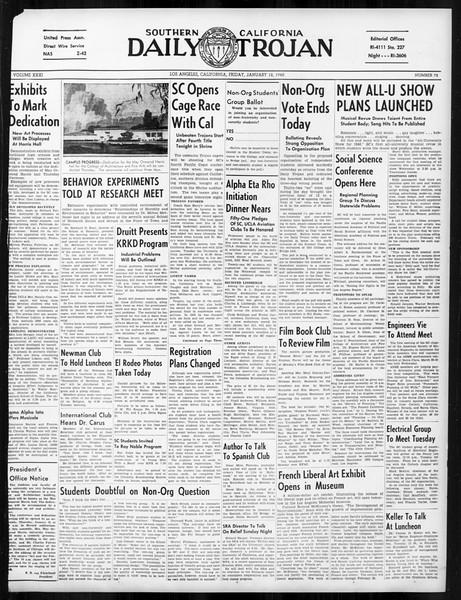 Daily Trojan, Vol. 31, No. 72, January 12, 1940