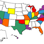 """Rachel's """"States Visited"""" Map, March 2012."""
