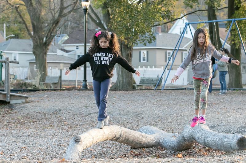 Twins Victoria & Stephania Sandrelli, 9, of Fitchburg balance on some logs on the playground at Doyle field Thursday November 5, 2020. SENTINEL & ENTERPRISE/JOHN LOVE