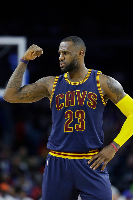 . Cleveland Cavaliers forward LeBron James looks towards the bench during the second half in Game 4 of a first-round NBA basketball playoff series against the Detroit Pistons, Sunday, April 24, 2016 in Auburn Hills, Mich. (AP Photo/Carlos Osorio)